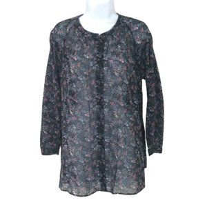 Uniqlo Floral Semi Sheer Collarless Button Blouse